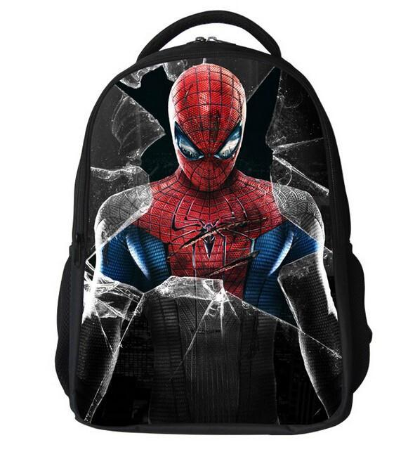 2015 New Fashion 16inch Cartoon School Bags With Zipper Boy Spiderman Backpack Casual Kid Print Schoolbag Children's Mochila