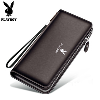 Playboy Luxury Brand Men Wallets Long Men Purse Wallet Male Clutch Leather Zipper Wallet Men Business