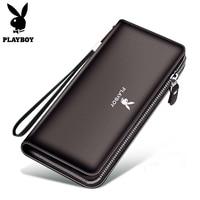 Playboy Luxury Brand Men Wallets Long Men Purse Wallet Male Clutch Leather Zipper Wallet Men Business