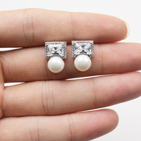One Pair Freshwater Pearl Coin White Earring FPPJ Wholesale Beads 7 8mm Unique Style