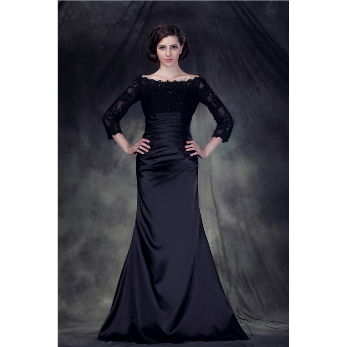 Fashion Elegent Trumpet Boat Neck Lace Floor length Evening Dress ...