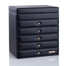 Caja grande para joyas, organizador de exhibición de pendientes, caja de joyería, gabinete, pulseras, cuentas, collar, caja de embalaje, 6 capas