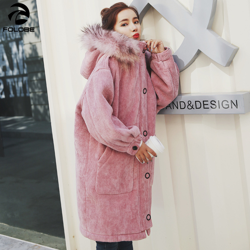 FOLOBE woman Loose Corduroy Jacket Women New Thick Winter lambswool Jackets Ladies Cute Outerwear Coat Long Warm   Parka   Female