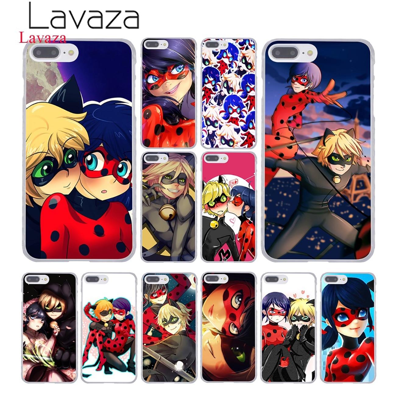 Lavaza Miraculous Ladybug and Chat Noir Hard Phone <font><b>Case</b></font> for Apple <font><b>iPhone</b></font> 8 7 6 6S Plus X <font><b>10</b></font> 5 5S SE 5C 4 4S