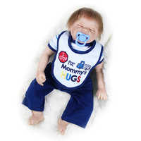 Nicery 20 zoll 50 cm Bebe Puppe Reborn Weichen Silikon Junge Mädchen Spielzeug Reborn Baby Puppe Geschenk für Kinder Braun bib Geschlossenen Augen