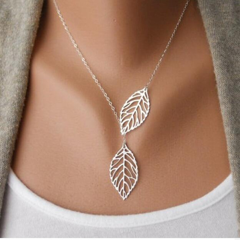 2018 Hot Fashion Gold Silver Plated Chain Necklace Leaf Casual Beads Long Strip Pendants Gifts Women Necklaces Jewelry