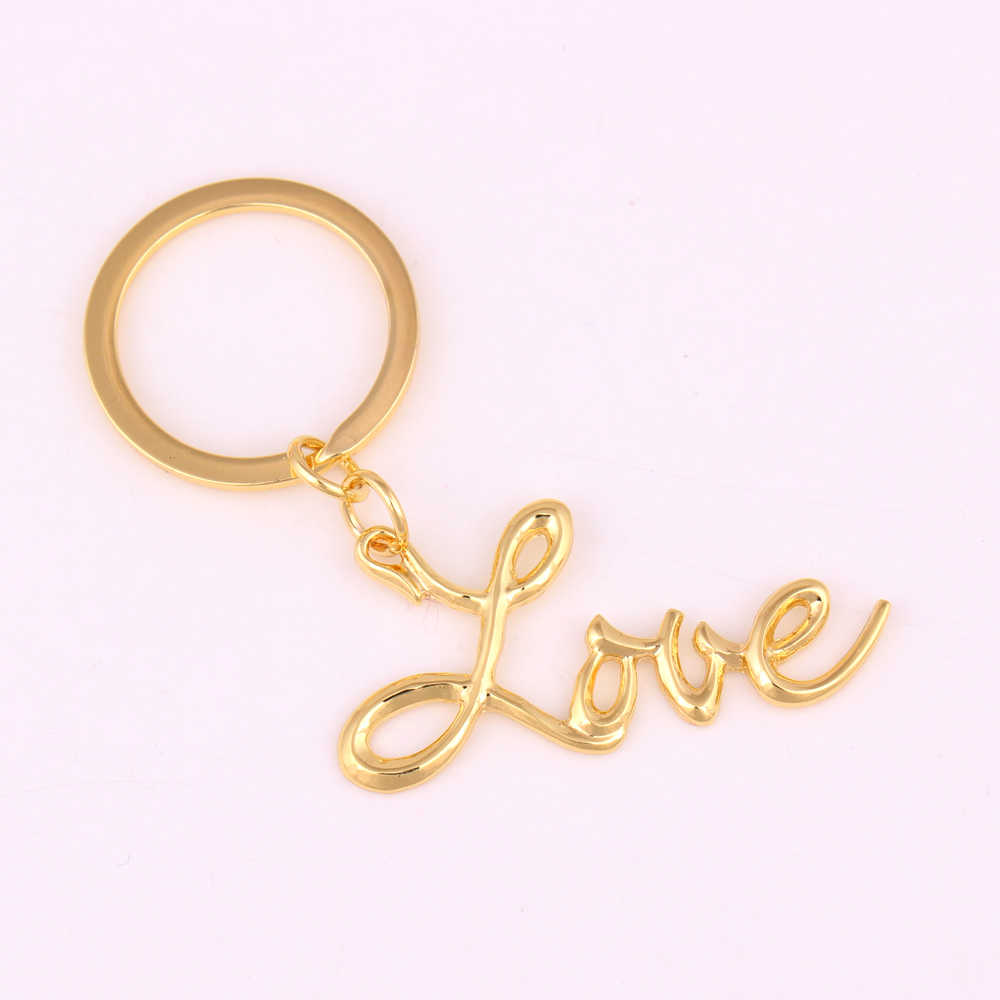 gold color Letter Love Keychain friend gift
