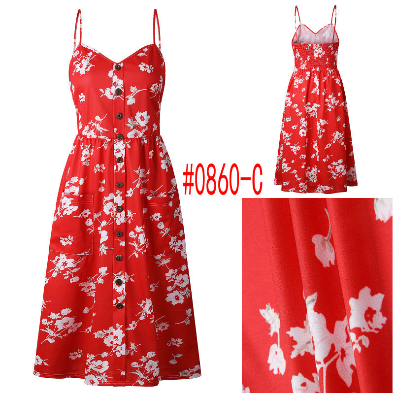 HTB163lvbq5s3KVjSZFNq6AD3FXaM Summer Women Dress 2019 Vintage Sexy Bohemian Floral Tunic Beach Dress Sundress Pocket Red White Dress Striped Female Brand Ali9