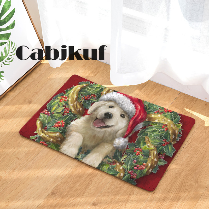 2017 New Christmas Wreath Dog Print Carpets Bathroon Mats
