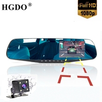 4 3 Rearview Mirror 1080p Car DVR Dual Lens Parking Video Recorder Registrator Dash Camera Full