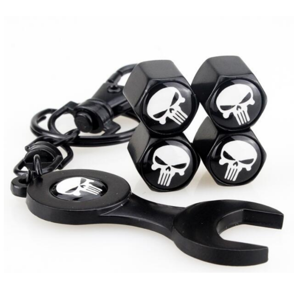 4pcs Car Styling Wheel Valve Stems Caps 1pc Wrench Skull Logo Customization For GMC ACADIA CANYON SAVANA SIERRA TERRAIN YUKON
