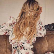 1 Pc Boho Big Gold Bowtie Hair Clip Tiara Comb Women Hairpins Accessories