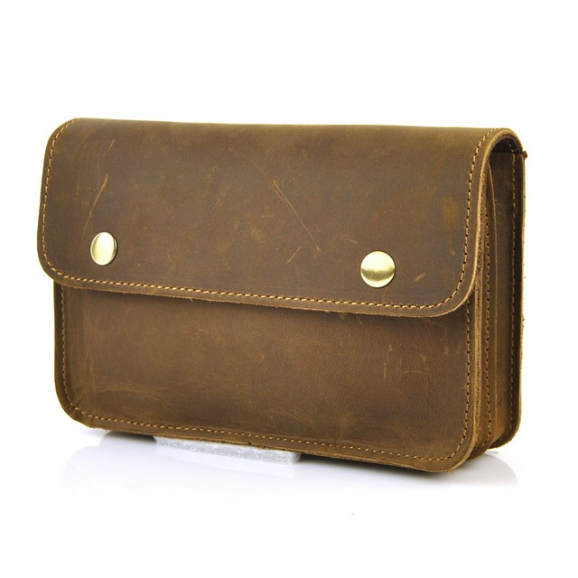 online store 6925d cd587 US $19.94 5% OFF Men Genuine Real Leather Fanny Belt Loop Bag Cellphone  Mobile Case Waist Pack Casual Classic Bags Vintage Retro Practical Pouch-in  ...
