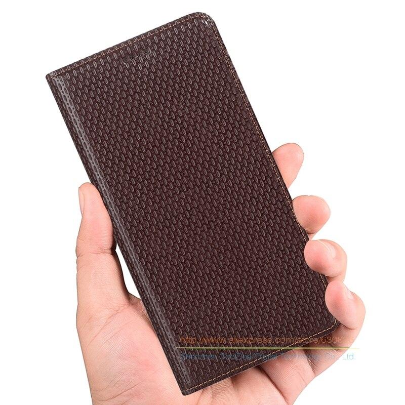 """bilder für Luxus Geschäfts Echtes Leder KickStand Fall Für ZTE Axon 7 Axon7 Mini 5,2 """"telefon Invisible Magnet Flip Fall & 1 Kartensteckplatz"""