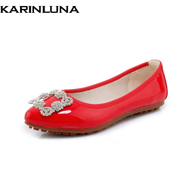 KarinLuna New women Patent Leather Flat Solid Shallow Crystal Pointed Toe Shoes Woman Casual Sweet Flats Red Big Size 34-40 vankaring new 2018 spring women flats shoes patent leather flat heels pointed toe black red shoes woman dress casual date shoes