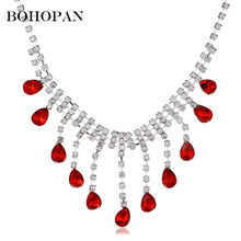 Multicolor Gem Necklace Women Water Drop Shape Crystal Stones Fashion Wedding Jewelry Chocker Bride collares femme 2018