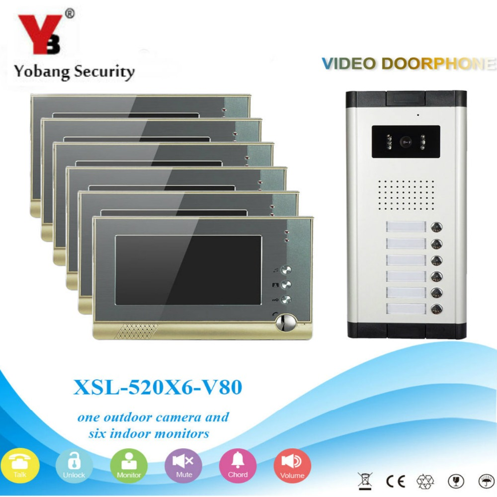 YobangSecurity Villa Apartment Eye Door bell 7TFT LCD Color Video Door Phone Doorbell Intercom System 1 Camera 6 Monitor скатерть verolli lez 160x300 см 1159032