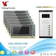 YobangSecurity Villa Apartment Eye Door bell 7″TFT LCD Color Video Door Phone Doorbell Intercom System 1 Camera 6 Monitor