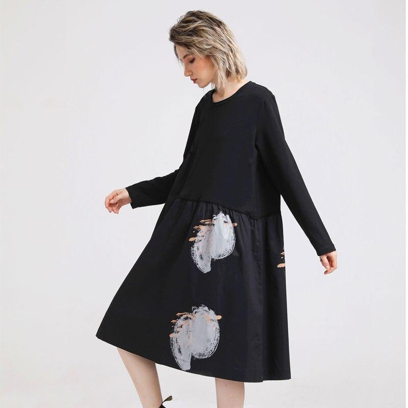 Automne Long T shirt femmes noir T-shirt à pois imprimé Patchwork grande taille mince Long hauts t-shirts femme T-shirt vestido de festa