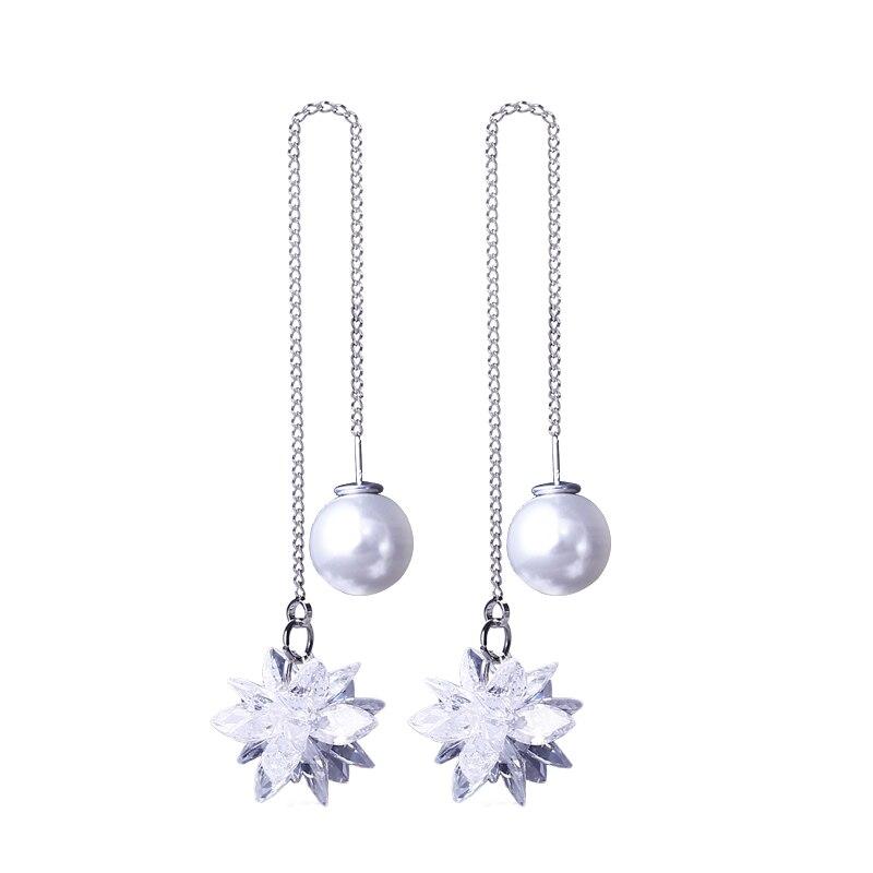 925 Argent Aiguille Blanc Zircon Géométrique Fleur Longues Boucles D'oreilles Simple Élégant Simulé Perle Oreille Ligne De Mode Bijoux Pour Les Femmes