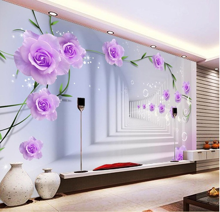 Elegant Photo Wallpaper Custom 3D Wall Murals Purple Flowers Wallpaper Kids  Bedroom Interior Design Room Decor Waterproof Silk In Wallpapers From Home  ...