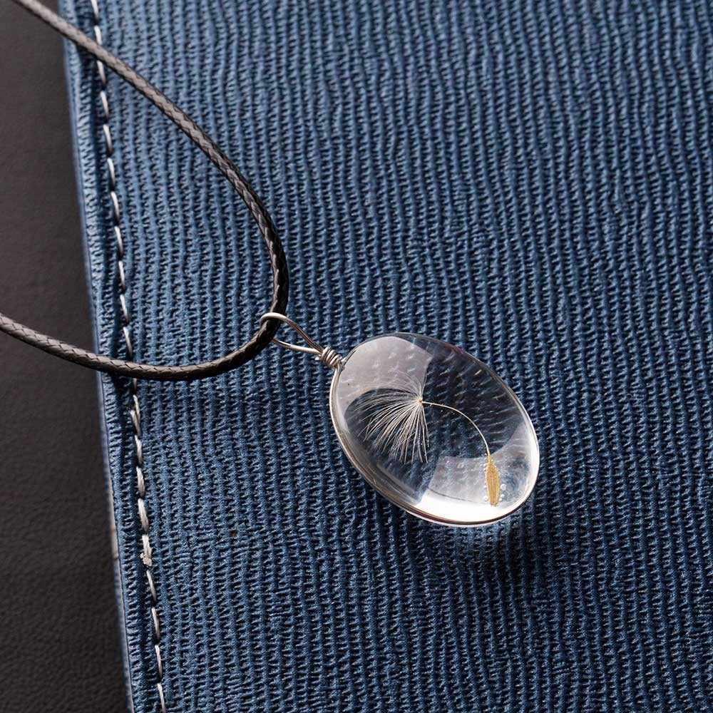 Szklana butelka naszyjnik naturalne nasiona mniszka lekarskiego w szkle długi naszyjnik życzenie szklany koralik niestandardowy ręcznie naszyjnik mniszka lekarskiego