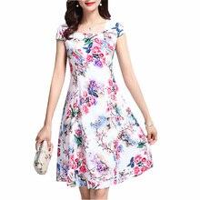 Vintage Floral Print summer Dress Women Casual Short Sleeve Party Elegant  Ladies Sundress