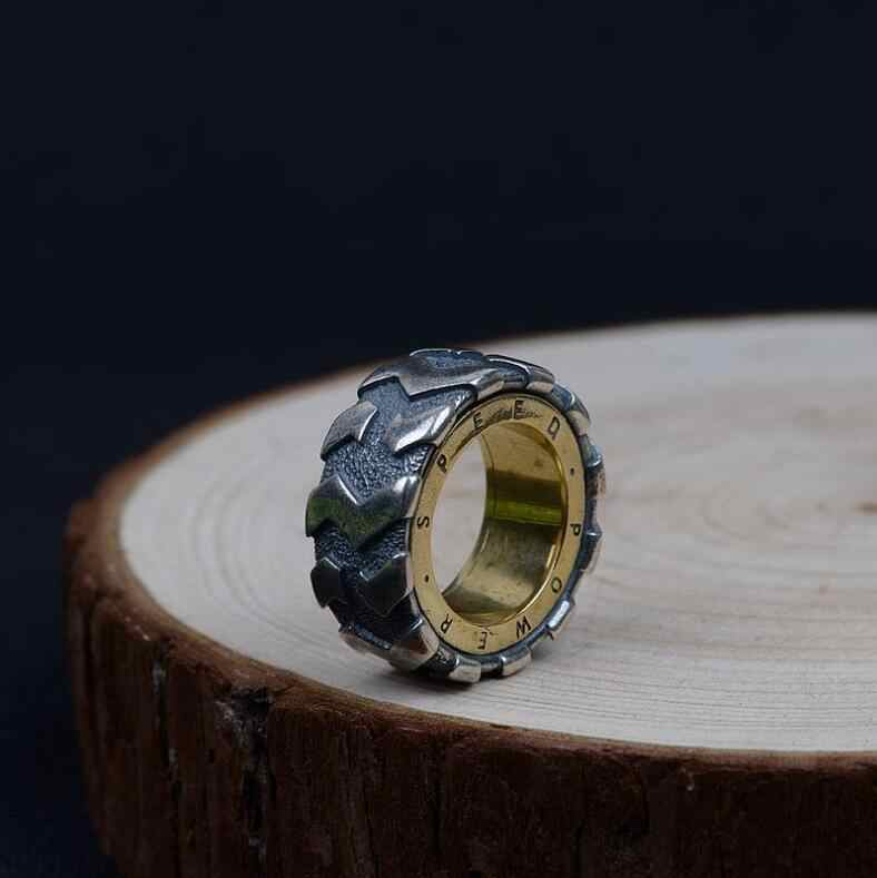 ecd850a6b76 ... Lengkea jewery men rings Real 925 sterling silver ring personality  Vintage Car Tire ring Cool men ...