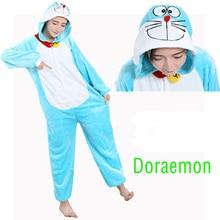 Winter jingle cat cartoon flannel pajamas woman Doraemon pyjama set new rnio sleepwear Unisex pijama Stitch onesie