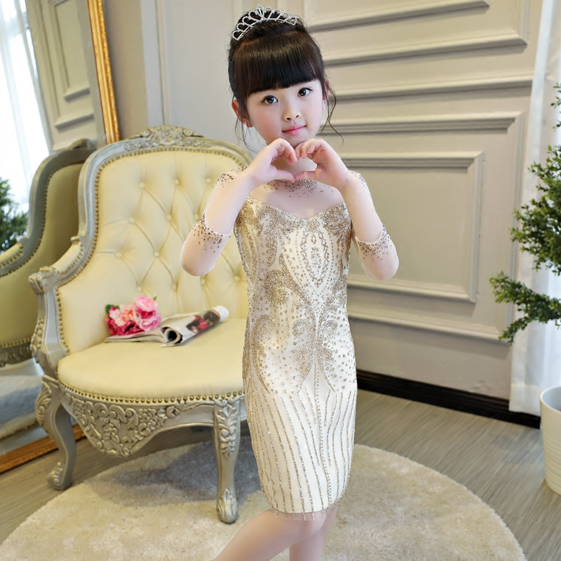 2-14 Years Luxury Gold Princess Dress Slim Kids Pageant Dresses for Party Birtyday Hollow Out Sleeve Girls Formal Dress B352-14 Years Luxury Gold Princess Dress Slim Kids Pageant Dresses for Party Birtyday Hollow Out Sleeve Girls Formal Dress B35
