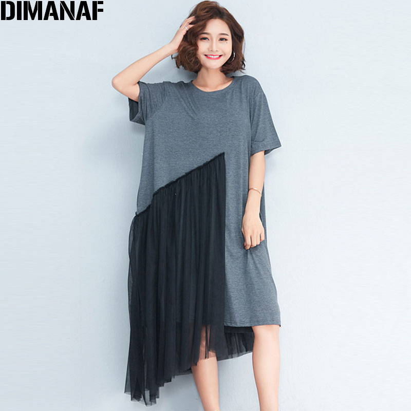 US $19.94 31% OFF|DIMANAF Plus Size Dress 2018 Summer Women Patchwork Mesh  Cotton Draped Fashion Casual Elegant O Neck New Grey Spliced Dresses-in ...