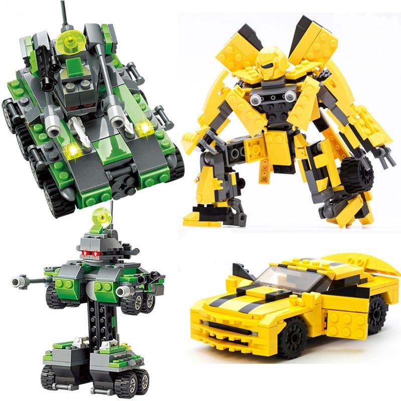 Gudi 8711 Kazi 8017 Building Blocks Compatible LegoINGly Transformation Tank Robot Toy Enlighten Educational Bricks детское лего gudi
