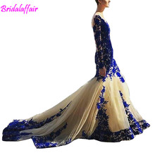 2018 New Arrival Long Sleeve Royal Blue Lace Evening Dresses Mermaid Tulle Prom Gowns long evening gown dresses robe soiree