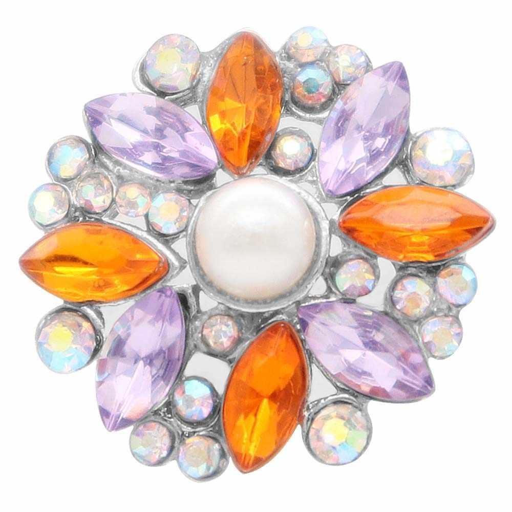 2019 kryształ perła kwiat przystawki przycisk biżuteryjny duże perły metalowe zatrzaski Fit DIY 18/20mm bransoletka na prezenty ślubne biżuteria