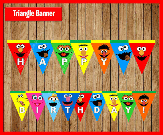 Online Shop Sesame Street Triangle Banner Baby Shower Birthday Party
