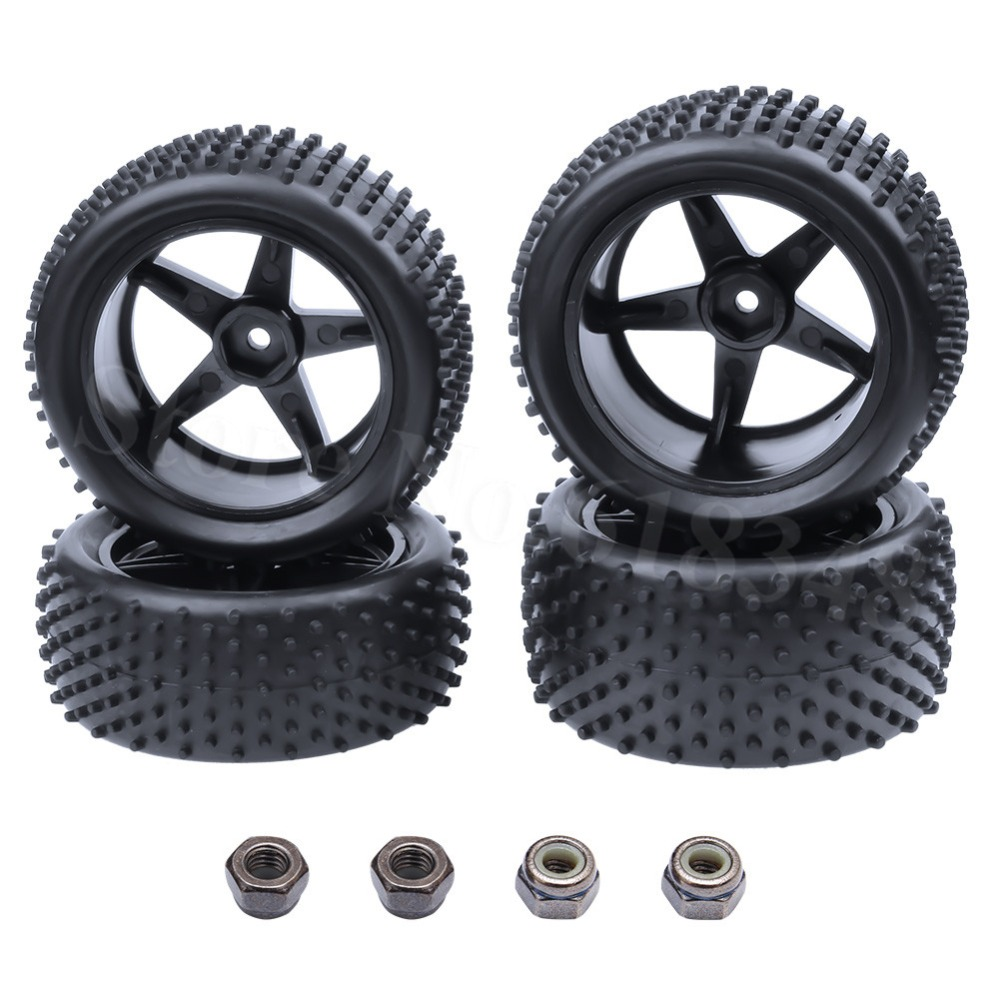 4 unids RC 1/10 Buggy Wheels & Tires 12 mm hexagonal para RC Off Road Car HSP HPI Tire