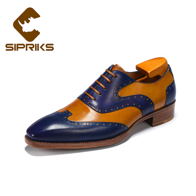 SIPRIKS Luxury Calf Leather Goodyear welted shoes men unique wingtip dress  shoes dark blue dark yellow oxfords boss tuxedo shoes 700c5cf67bbd