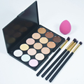 Pincéis de maquiagem Profissional definida 15 Color Contour Concealer Palette + 4 pc Pó Brushes + Esponja cosméticos puff pinceles de maquillaje