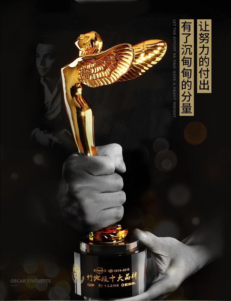 Haute qualité! Oscar petit Golden Man trophée créatif cristal prix ailes ange métal trophée lettrage gratuit, livraison gratuite