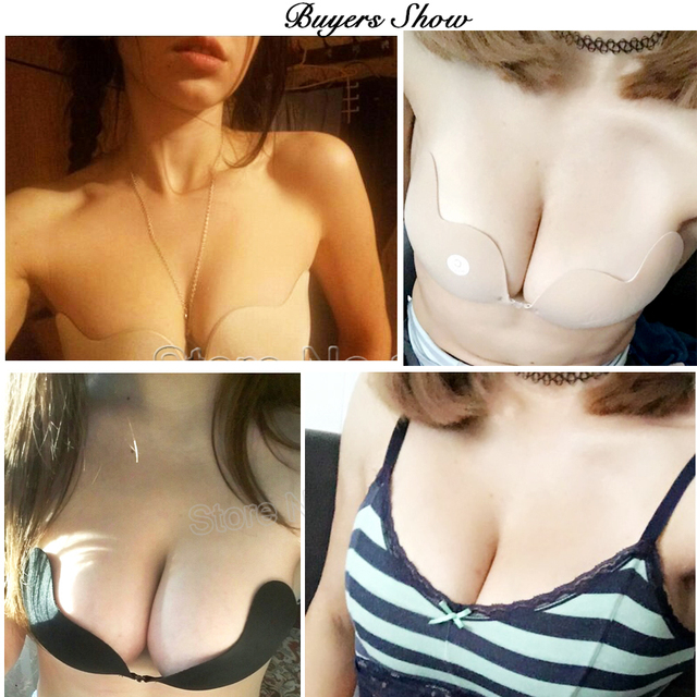 Front Closure Silicone Self-Adhesive Half Cup Wire Free Backless Strapless Seamless Push Up Bra 2