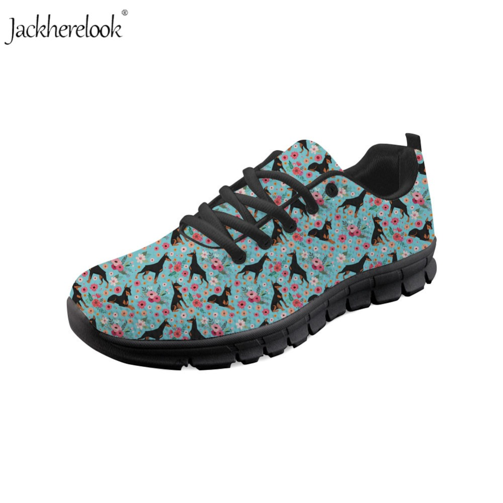 Realistic Jackherelook Doberman Flower Printed Breathable Sneakers Light Running Shoes For Women Men Air Mesh Sport Jogging Athletic Shoes Sports & Entertainment Sneakers