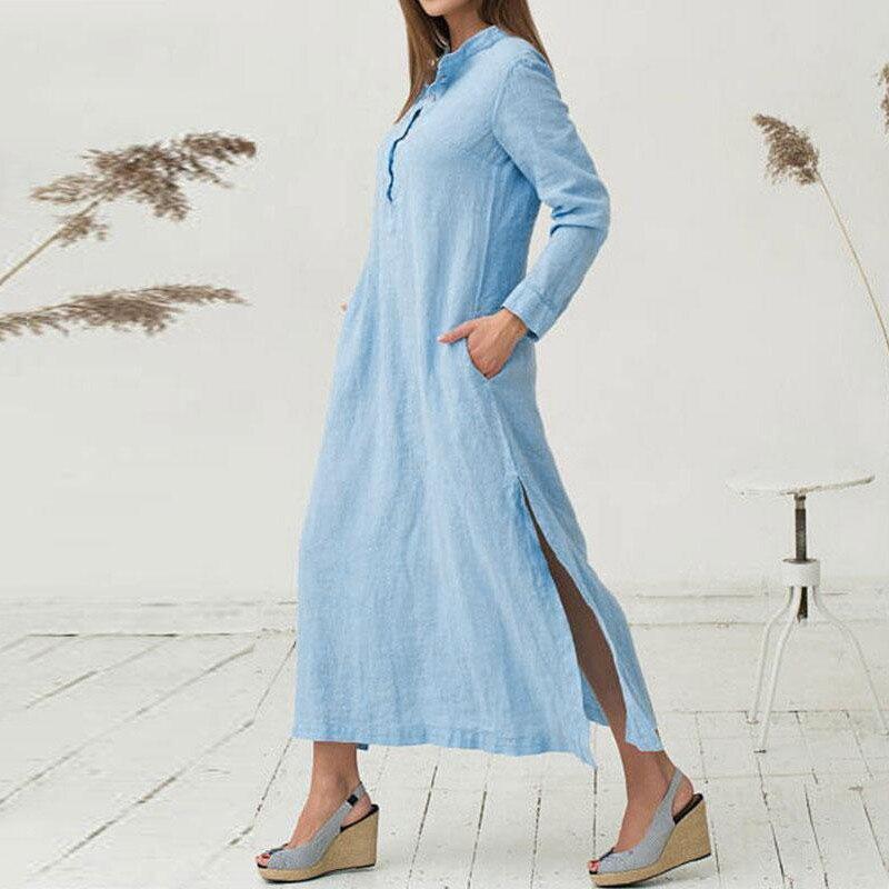 EaseHut White Blue Long Sleeve Maxi Tshirt Dress for Women Stand Collar Buttons Slit Casual Long Dress Plus Size Autumn Dresses 1