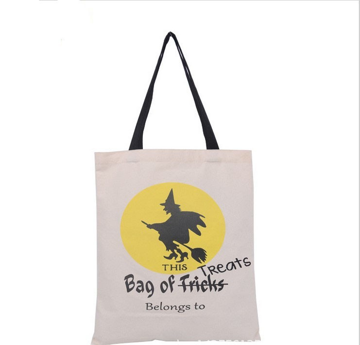 100pcs 6 Types Halloween Tote Bags with Black Handle Pumpkin Christmas Shopping Bags Festival Gifts Bag Halloween Canvas Bag tote bag