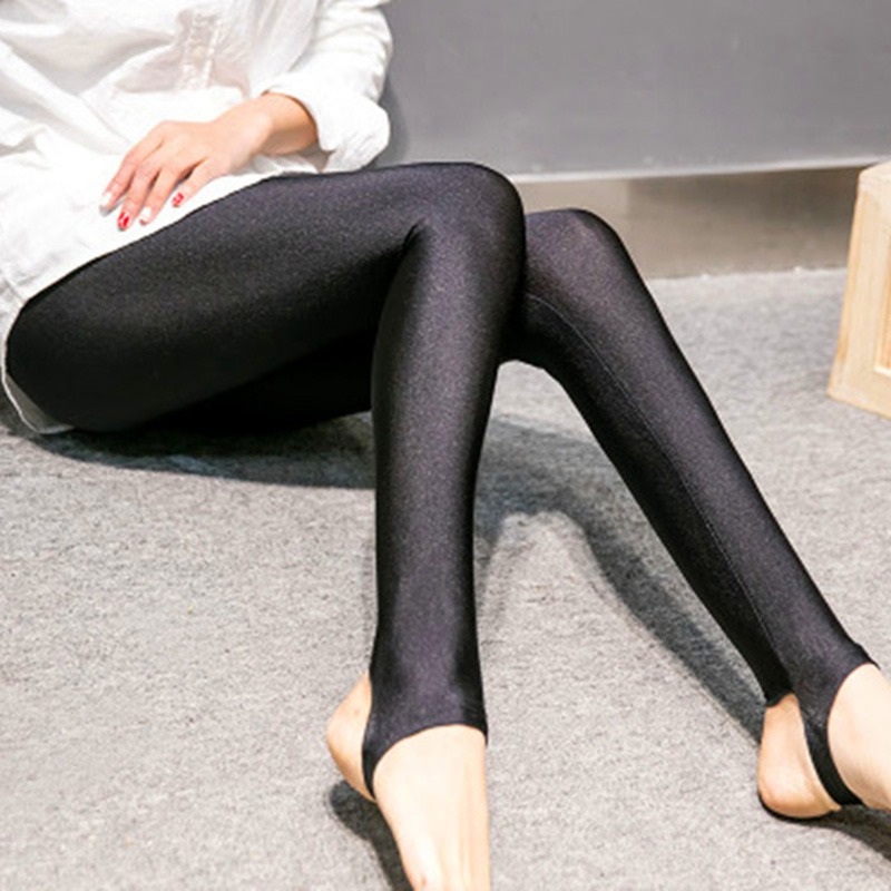 EFINNY Fashion Women Shiny   Leggings   Thin Ankle Length Black   Leggings   Stretchy High Waist Satin Basic   Leggings