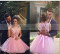 2017 Said Mhmad Pink 3D Flower Cocktail Dresses Lovely Open Back Mini Short Arabic Prom Dresses Tulle Homecoming Party Dress