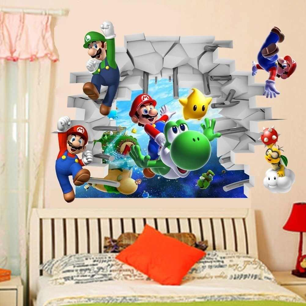 Super Mario Bros 3D Vinyl Art Windows Wall Stickers Decals Room Decor Removable