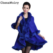 2017 Casual Hot Sales Attractive Women Spring Autumn Faux Fur Collar Poncho Cape Thin Stole Wrap