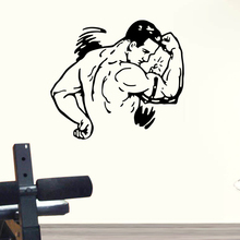 Gym Sticker Fitness Decal Body-building Muscle Posters Vinyl Wall Decals Pegatina Quadro Parede Decor Mural Gym Sticker