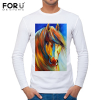 FORUDESIGNS 3D Crazy Horse Printing Men T Shirt Brand Clothing Long Sleeve T Shirts For Male