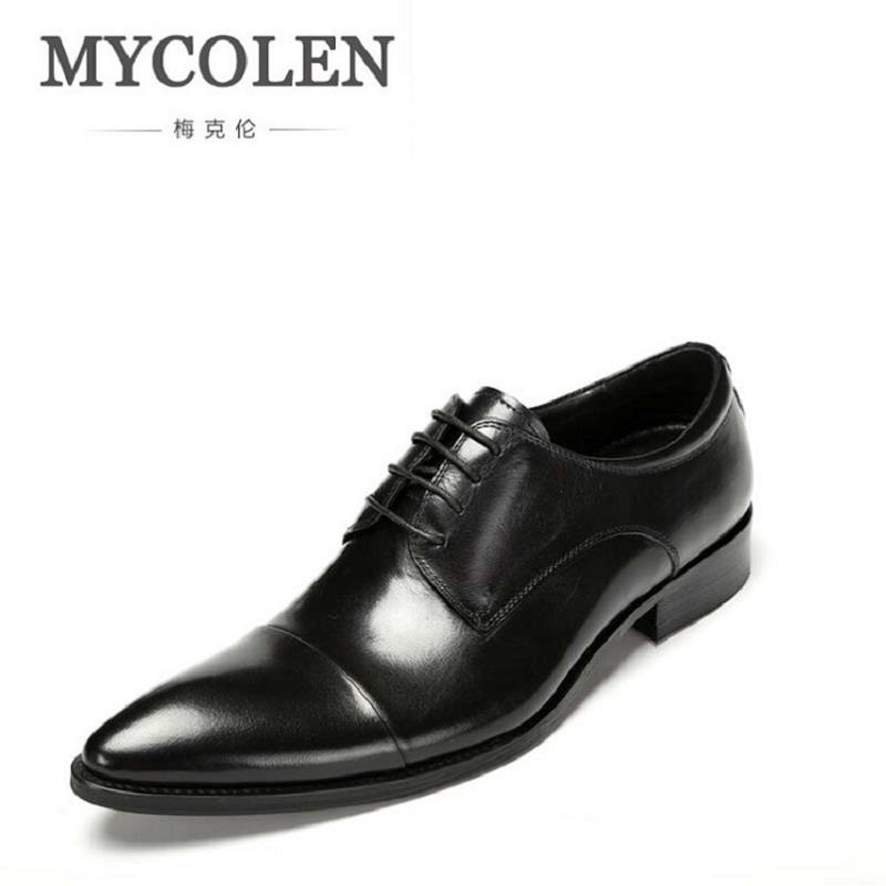 MYCOLEN Brand Formal Dress Men Shoes Genuine Leather Business Classic Office Wedding Mens Oxford Italian Pointed Toe Shoes 2018 italian brand brogues men shoes oxford shoes for men pointed toe platform dress shoes genuine leather formal wedding shoes